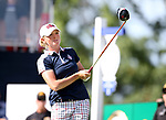 DES MOINES, IA - AUGUST 20: USA's Stacy Lewis watches her tee shot on the first hole during her singles match Sunday morning at the 2017 Solheim Cup in Des Moines, IA. (Photo by Dave Eggen/Inertia)