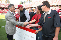 14 October 2006: Bob Bowlsby shakes hands with the Buck Cardinal Club during Stanford's 20-7 loss to Arizona during Homecoming at Stanford Stadium in Stanford, CA.