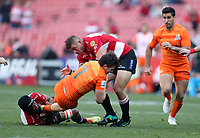 Marvin Orie and Malcolm Marx of the Emirates Lions  tackling Tomas Lezana of the Jaguares during the Super Rugby quarter-final match between the Emirates Lions and the Jaguares at the Emirates Airlines Park Stadium,Johannesburg, South Africa on Saturday, 21 July 2018. Photo: Steve Haag / stevehaagsports.com