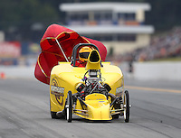 Oct 1, 2016; Mohnton, PA, USA; NHRA comp eliminator driver XXXX during qualifying for the Dodge Nationals at Maple Grove Raceway. Mandatory Credit: Mark J. Rebilas-USA TODAY Sports