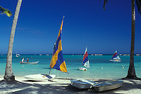 AJ2322, Dominican Republic, resort, Caribbean, Caribbean Islands, Punta Cana, Picturesque view of sailboats on the Atlantic Ocean from Punta Cana Beach Resort in Punta Cana in the Dominican Republic.