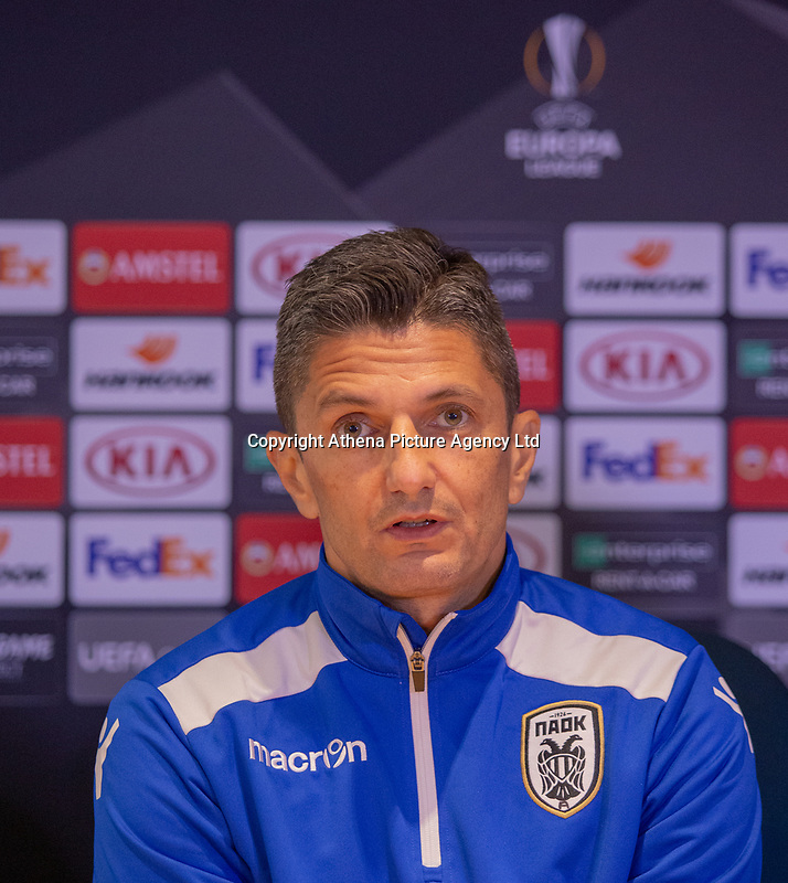 Razvan Lucescu of PAOK during training and press conference at Stamford Bridge, London