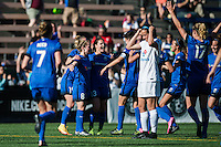 Seattle, WA - Sunday, May 1, 2016: Seattle Reign FC midfielder Kim Little (8) and teammates celebrate her goal during the second half of a National Women's Soccer League (NWSL) match at Memorial Stadium.