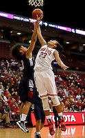 Gonzaga Bulldogs guard Haiden Palmer (3) blocks a shot by Ohio State Buckeyes forward Martina Ellerbe (23) under the basket during the second half of the NCAA basketball game between the Ohio State Buckeyes and the Gonzaga Bulldogs at Value City Arena in Columbus, Ohio, on Sunday, Dec. 8, 2013. The Gonzaga Bulldogs defeated the Buckeyes 59-58. (Columbus Dispatch/Sam Greene)
