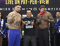 DALLAS, TX - MARCH 15: Roberto Duran poses for a photo with Chris Arreola and Jean Pierre Augustin at the weigh-in for the Fox Sports PBC Pay-Per-View World Welterweight Championship fight at AT&T Stadium on March 15, 2019 in Dallas, Texas. The fight is on March 16 at 9PM ET/6PM PT. (Photo by Frank Micelotta/Fox Sports/PictureGroup)