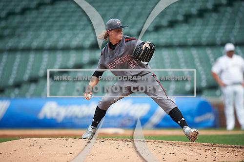Shane Baz (21) of Concordia Lutheran High School in Cypress, Texas during the Under Armour All-American Game presented by Baseball Factory on July 23, 2016 at Wrigley Field in Chicago, Illinois.  (Mike Janes/Four Seam Images)