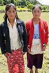 Two teenage girls posing, San Nicolas, Western Highlands, Guatemala