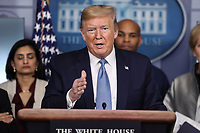 United States President Donald J. Trump speaks during a press conference with members of the coronavirus task force in the Brady Press Briefing Room of the White House on March 16, 2020 in Washington, DC.<br /> Credit: Oliver Contreras / Pool via CNP/AdMedia