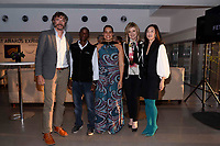"NEW YORK CITY - APRIL 22: (L-R) Steve Boyes, Tumeletso ""Water"" Setlabosha , Arianna Huffington and Adjani Costa attend National Geographic's ""Into The Okavango"" panel at Tribeca Film Festival at Tribeca Festival Hub on April 22, 2018 in New York City. (Photo by Anthony Behar/National Geographic/PictureGroup)"