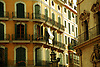 Facade with balconies, white courtains and green window shutters in Palma de Mallorca<br /> <br /> Fachadas con balcones, cortinas blancas y persianas verdes en <br /> Palma de Mallorca<br /> <br /> Fassade mit Balkonen, wei&szlig;en Vorh&auml;ngen und gr&uuml;nen Persianas in Palma de Mallorca<br /> <br /> 3600 x 2400 px