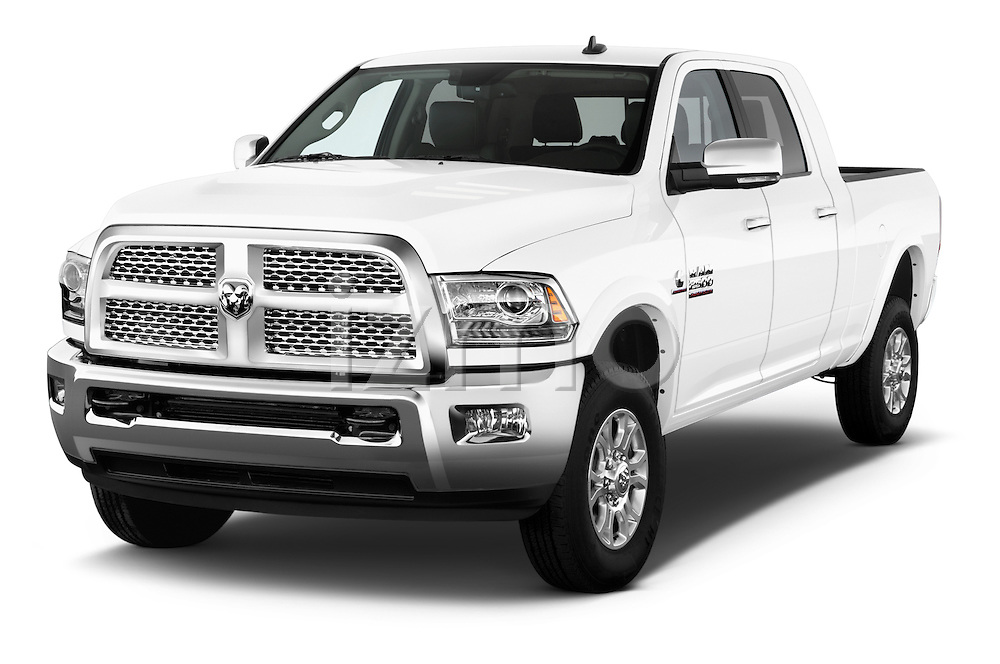 2015 Ram 2500 Laramie Mega Cab 4 Door Truck Angular Front stock photos of front three quarter view