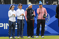 Brittany Altomare and Annie Park of Team USA with Suzann Pettersen and Anne Van Dam of Team Europe on the 1st tee during Day 2 Fourball at the Solheim Cup 2019, Gleneagles Golf CLub, Auchterarder, Perthshire, Scotland. 14/09/2019.<br /> Picture Thos Caffrey / Golffile.ie<br /> <br /> All photo usage must carry mandatory copyright credit (© Golffile | Thos Caffrey)