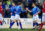St Johnstone v Brechin...07.01.12  Scottish Cup Round 4.Murray Davidson celebrates his goal with Alan Maybury and Carl Finnigan.Picture by Graeme Hart..Copyright Perthshire Picture Agency.Tel: 01738 623350  Mobile: 07990 594431