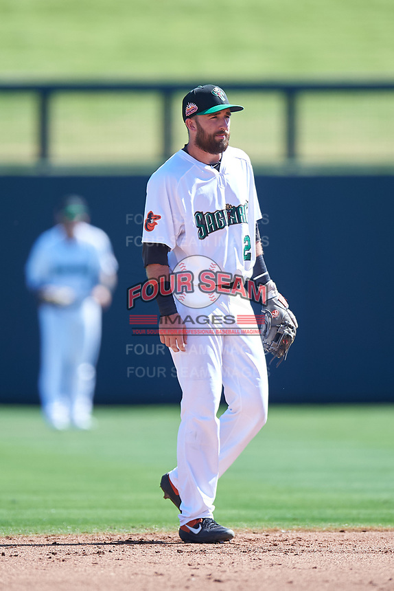 Surprise Saguaros second baseman Mason McCoy (20), of the Baltimore Orioles organization, during the Arizona Fall League Championship Game against the Salt River Rafters on October 26, 2019 at Salt River Fields at Talking Stick in Scottsdale, Arizona. The Rafters defeated the Saguaros 5-1. (Zachary Lucy/Four Seam Images)