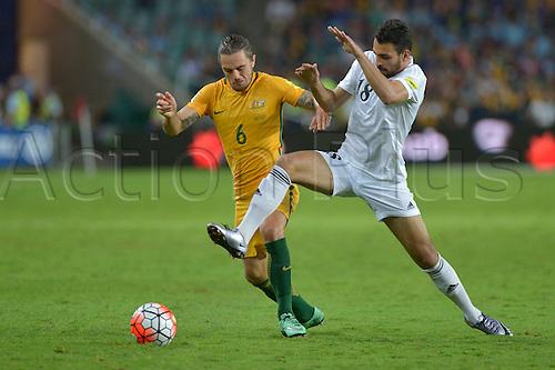 29.03.2016. Allianz Stadium, Sydney, Australia. Football 2018 World Cup Qualification match Australia versus Jordan. Australian defender Josh Risdon in action. Australia won 5-1.