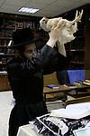 Israel, Bnei Brak, Kapparot ceremony at the Premishlan congregation