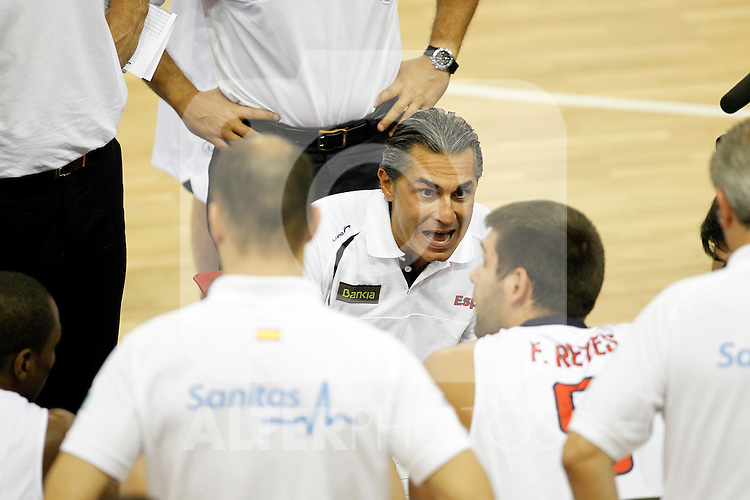 Spain's coach Sergio Scariolo during friendly match.August 13,2011. (ALTERPHOTOS/Acero)