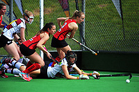 Action from the National Hockey League women's match between the Canterbury Cats and Tiger Turf North Harbour at National Hockey Stadium in Wellington, New Zealand on Thursday, 21 October 2017. Photo: Dave Lintott / lintottphoto.co.nz