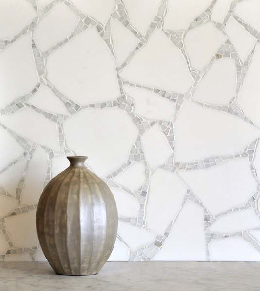 Path, a handmade mosaic shown in Thassos and Calacatta, is part of the Metamorphosis Collection by Sara Baldwin for New Ravenna.<br /> <br /> For pricing samples and design help, click here: http://www.newravenna.com/showrooms/