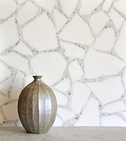 Path, a handmade mosaic shown in Thassos and Calacatta, is part of the Metamorphosis Collection by Sara Baldwin for New Ravenna.<br />