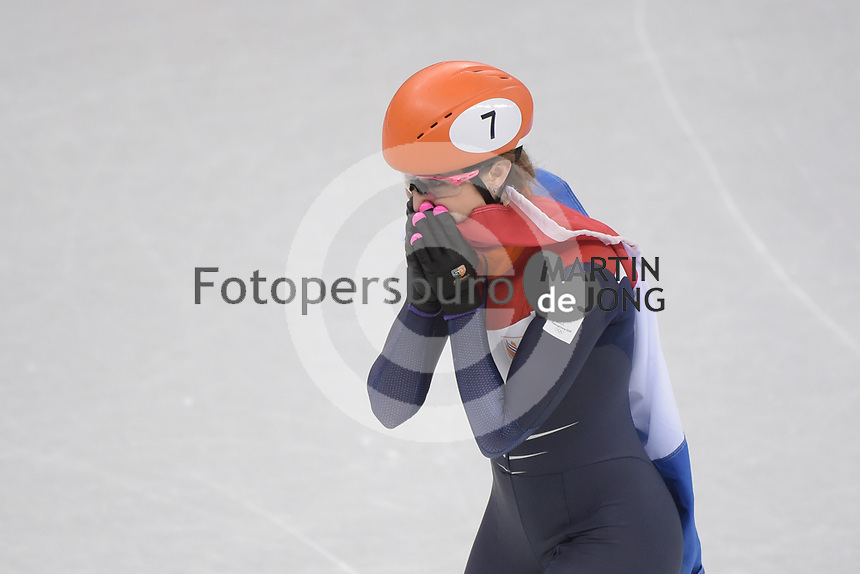 OLYMPIC GAMES: PYEONGCHANG: 22-02-2018, Gangneung Ice Arena, Short Track, A-Final 1000m Ladies, Olympic Champion Suzanne Schulting (NED), ©photo Martin de Jong