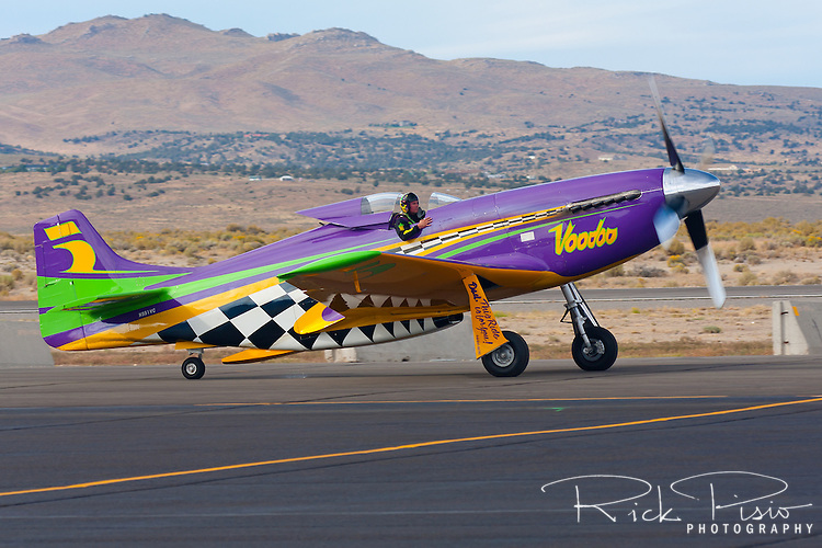 """The modified P-51 Mustang Air Racer """"Voodoo"""" taxies after a heat race in the 2010 National Championship Air Races."""