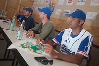 20 july 2010: Team France manager Sylvain Virey is seen next to Jean-Christophe Tine during a press conference prior to the 2010 European Championship Seniors, in Neuenburg, Germany.