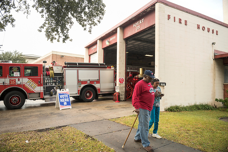 UNITED STATES - NOVEMBER 08: Leroy Gaskins and Mary Davis leave a fire house after voting in the Carrollton neighborhood of New Orleans, La., November 8, 2016. (Photo By Tom Williams/CQ Roll Call)