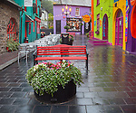County Cork, Ireland: Colorful storefronts in the market square of Kinsale