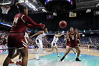 GREENSBORO, NC - MARCH 07: Marnelle Garraud #14 of Boston College inbounds the ball Taylor Soule #13 during a game between Boston College and NC State at Greensboro Coliseum on March 07, 2020 in Greensboro, North Carolina.