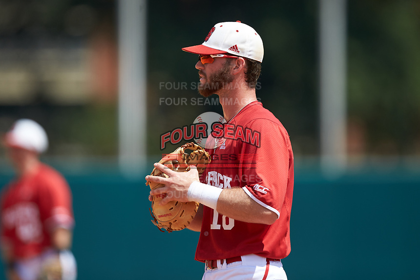 North Carolina State Wolfpack first baseman Evan Edwards (18) on defense against the Army Black Knights at Doak Field at Dail Park on June 3, 2018 in Raleigh, North Carolina. The Wolfpack defeated the Black Knights 11-1. (Brian Westerholt/Four Seam Images)