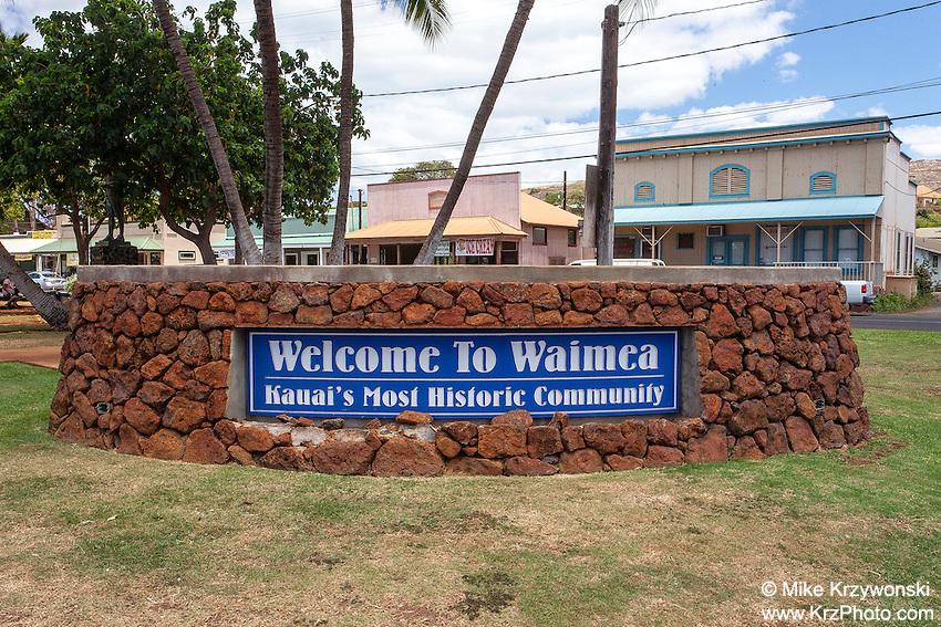 Welcome sign in small historic town of Waimea, Kaua'i, Hawaii