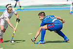 GER - Mannheim, Germany, April 15: During the field hockey 1. Bundesliga match between Mannheimer HC (blue) and Rot-Weiss Koeln (white) on April 15, 2018 at Am Neckarkanal in Mannheim, Germany. Final score 2-2.  Gonzalo Peillat #2 of Mannheimer HC, Marco Miltkau of Rot-Weiss Koeln<br /> <br /> Foto &copy; PIX-Sportfotos *** Foto ist honorarpflichtig! *** Auf Anfrage in hoeherer Qualitaet/Aufloesung. Belegexemplar erbeten. Veroeffentlichung ausschliesslich fuer journalistisch-publizistische Zwecke. For editorial use only.