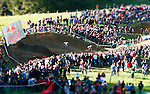 Britain's Dan Atherton (22) leads Swiss Roger Rinderknecht (03) off the Red Bull Wall Ride to get into the finals of the Men's Elite 4X event. MTB World Championships, Rototorua, New Zealand. 25Aug06. Photo James Madelin