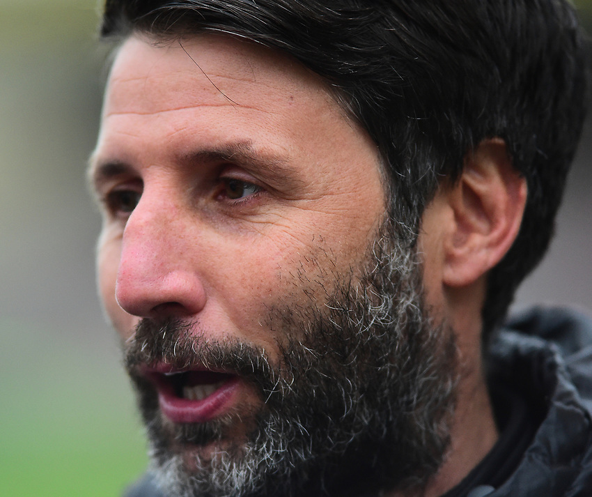 Lincoln City manager Danny Cowley during the pre-match warm-up<br /> <br /> Photographer Andrew Vaughan/CameraSport<br /> <br /> The EFL Sky Bet League Two - Saturday 15th December 2018 - Lincoln City v Morecambe - Sincil Bank - Lincoln<br /> <br /> World Copyright © 2018 CameraSport. All rights reserved. 43 Linden Ave. Countesthorpe. Leicester. England. LE8 5PG - Tel: +44 (0) 116 277 4147 - admin@camerasport.com - www.camerasport.com