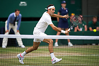 Roger Federer (3) of Switzerland in action during his victory against Marin Cilic (7) of Croatia in their Gentlemen's Singles Final - Federer def Cilic 6-3, 6-1, 6-4<br /> <br /> Photographer Ashley Western/CameraSport<br /> <br /> Wimbledon Lawn Tennis Championships - Day 13 - Sunday 16th July 2017 -  All England Lawn Tennis and Croquet Club - Wimbledon - London - England<br /> <br /> World Copyright &not;&uml;&not;&copy; 2017 CameraSport. All rights reserved. 43 Linden Ave. Countesthorpe. Leicester. England. LE8 5PG - Tel: +44 (0) 116 277 4147 - admin@camerasport.com - www.camerasport.com