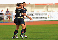 Lauren Cheney celebrates her goal with Abby Wambach. The USWNT defeated Iceland (2-0) at Vila Real Sto. Antonio in their opener of the 2010 Algarve Cup on February 24, 2010.