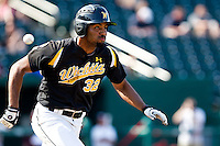 Micah Green (32) of the Wichita State Shockers trys to beat the ball to first base during a game against the Missouri State Bears on April 9, 2011 at Hammons Field in Springfield, Missouri.  Photo By David Welker/Four Seam Images