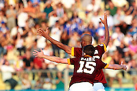 """Calcio, Serie A: Empoli vs Roma. Empoli, stadio """"Carlo Castellani"""" 13 settembre 2014. <br /> Roma midfielder Miralem Pjanic, of Bosnia, foreground, and defender Maicon, of Brazil, appeal to referee during the Italian Serie A football match between Empoli and AS Roma at Empoli's """"Carlo Castellani"""" stadium, 13 September 2014.<br /> UPDATE IMAGES PRESS/Isabella Bonotto"""