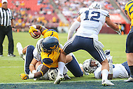 Landover, MD - September 24, 2016: West Virginia Mountaineers running back Rushel Shell (7) dives in for the touchdown during game between BYU and WVA at  FedEx Field in Landover, MD.  (Photo by Elliott Brown/Media Images International)
