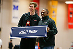 NAPERVILLE, IL - MARCH 11: Robert Eason of Rhodes College stands with a coach after winning the men's high jump at the Division III Men's and Women's Indoor Track and Field Championship held at the Res/Rec Center on the North Central College campus on March 11, 2017 in Naperville, Illinois. (Photo by Steve Woltmann/NCAA Photos via Getty Images)