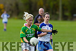 In Action Kerry's Bernie Breen goes for a point with Monaghan's Eileen McElroy in Chase at the  Senior ladies football Kerry V Monaghan at Desmonds  Castleisland GAA Ground on Sunday