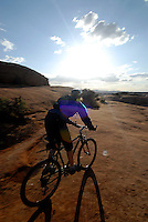Mountain biking at Bartlet Wash, Moab, Utah