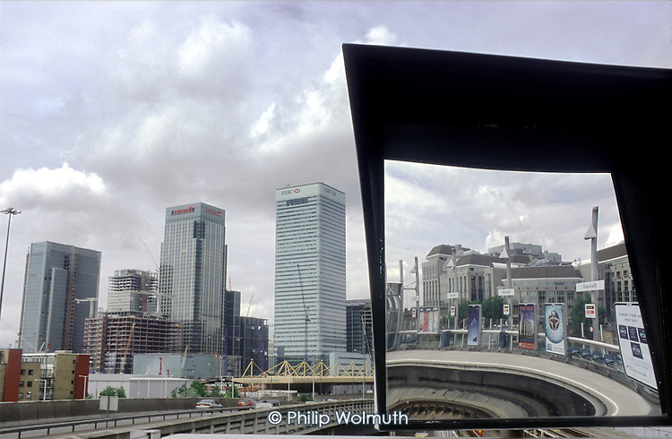 Canary Wharf, in London's Docklands, seen from Canning Town DLR station.