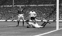30.07.1966. Wembley Stadium, London England. 1966 World Cup final England versus Germany (4-2) After Extra time.  From left to right: Jack Charlton, goalkeeper Gordon Banks (both ENG) and Lothar Emmerich (GER).