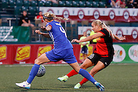 Rochester, NY - Friday June 24, 2016: Boston Breakers defender Whitney Engen (4), Western New York Flash forward Adriana Leon (19) during a regular season National Women's Soccer League (NWSL) match between the Western New York Flash and the Boston Breakers at Rochester Rhinos Stadium.