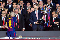 King Felipe VI of Spain and Andres Iniesta during King's Cup Finals match between Sevilla FC and FC Barcelona at Wanda Metropolitano in Madrid, Spain. April 21, 2018. (ALTERPHOTOS/Borja B.Hojas)