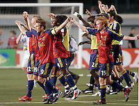 Real Salt Lake Players salute the fans after the Real Salt Lake 2-1 win over Kansas City Wizards at Rice Eccles Stadium in Salt Lake City, Utah May 20, 2006