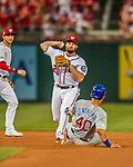 7 October 2017: Washington Nationals second baseman Daniel Murphy turns a double-play to end the top of the 4th during the second NLDS game against the Chicago Cubs at Nationals Park in Washington, DC. The Nationals defeated the Cubs 6-3 and even their best of five Postseason series at one game apiece. Mandatory Credit: Ed Wolfstein Photo *** RAW (NEF) Image File Available ***