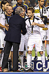 20 November 2011: Los Angeles' Los Angeles' Mike Magee (18) shakes hands with team owner Philip F. Anschutz after receiving his winner's medal. The Los Angeles Galaxy defeated the Houston Dynamo 1-0 at the Home Depot Center in Carson, CA in MLS Cup 2011, Major League Soccer's championship game.